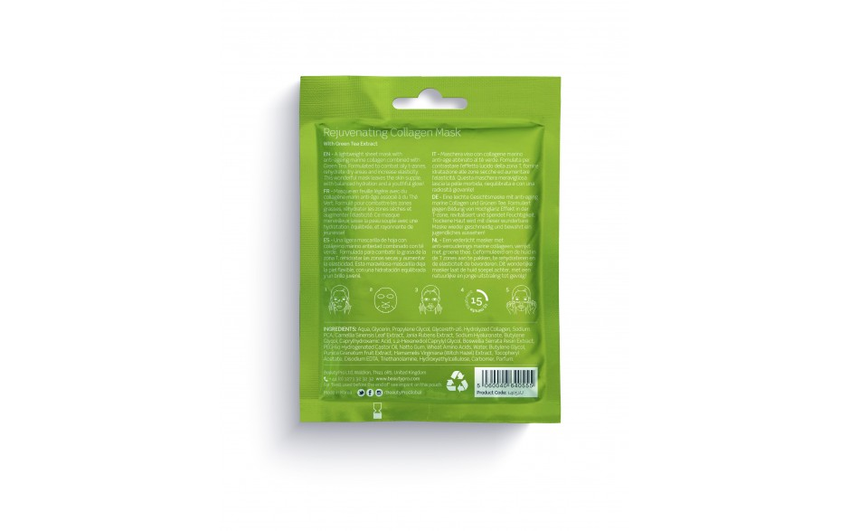 Beauty Pro- Collagen Infused Facial Mask - Rejuvinating Green Tea
